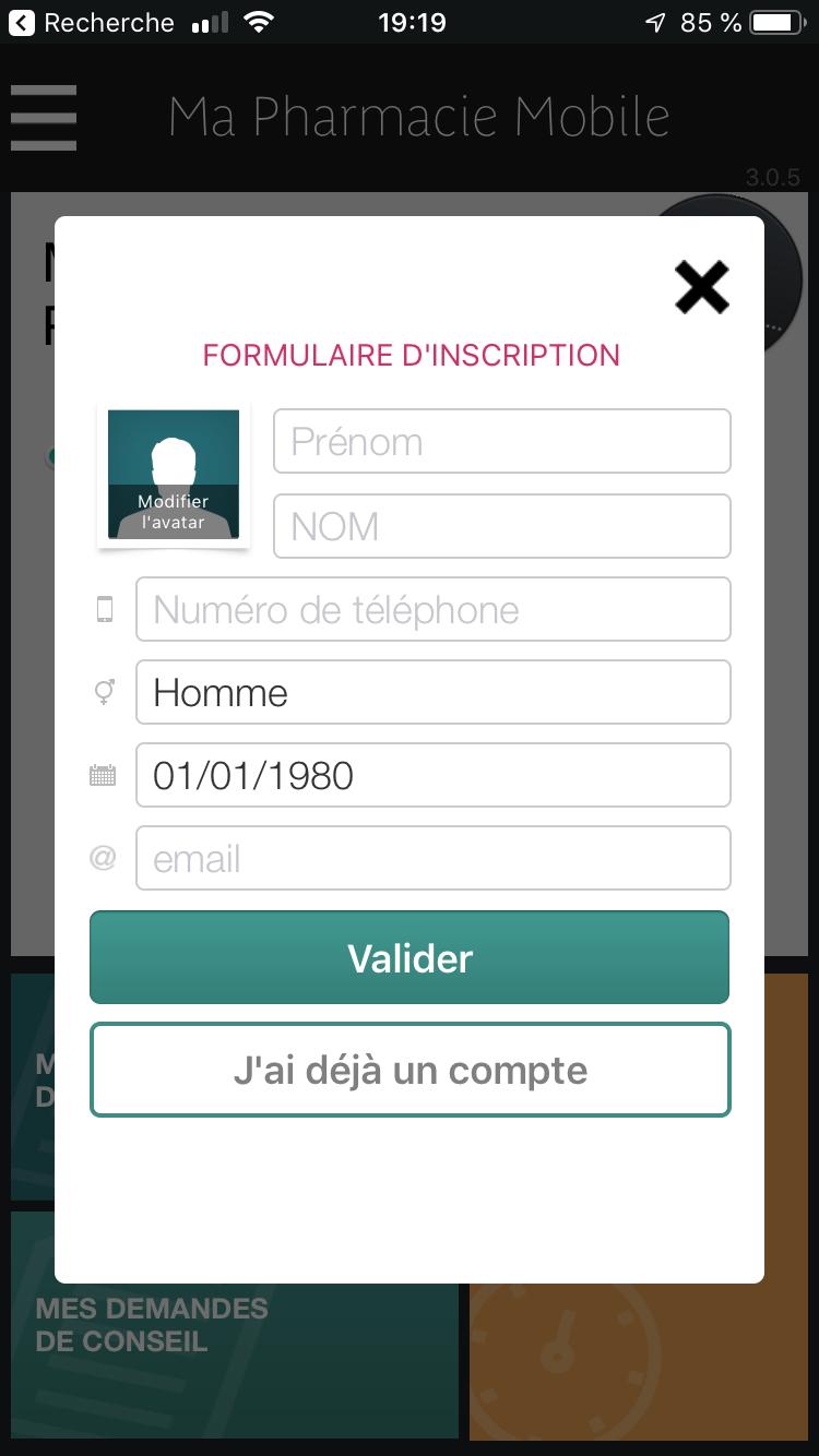 Création du profil Ma pharmacie mobile